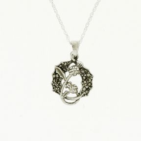 Scottish Thistle Silver Pendant with Marcasite 1914